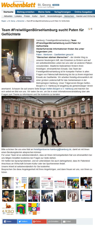 Team FreiwilligenBörseHamburg sucht Paten für Geflüchtete