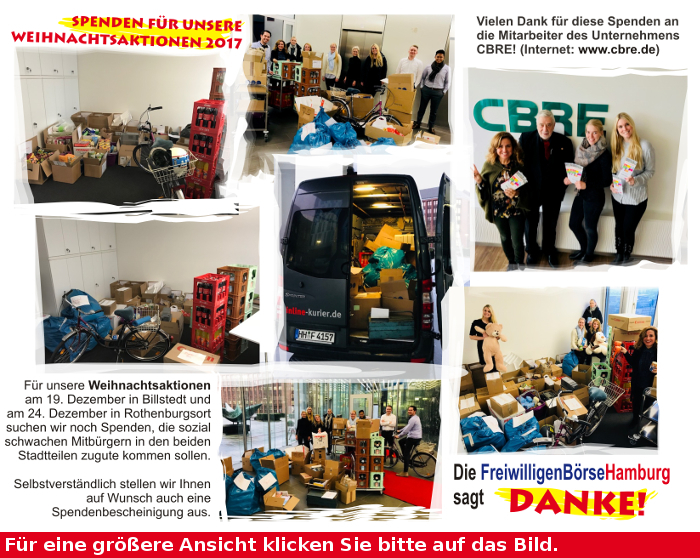 Spenden für Weihnachtsaktion der FreiwilligenBörseHamburg