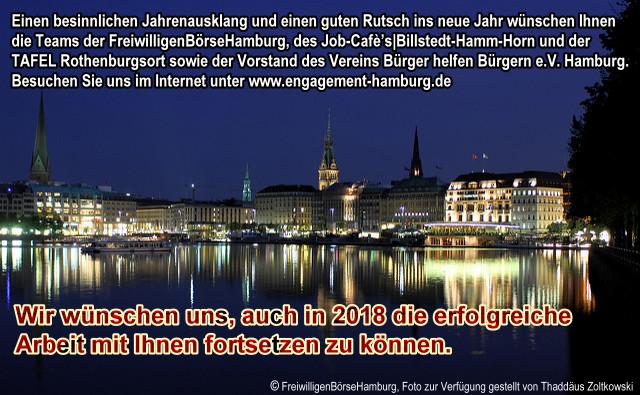 Einen besinnlichen Jahresausklang wünschen die Teams der FreiwilligenBörseHamburg, des Job-Cafes Billstedt-Hamm-Hirn und der TAFEL Rothenburgsort