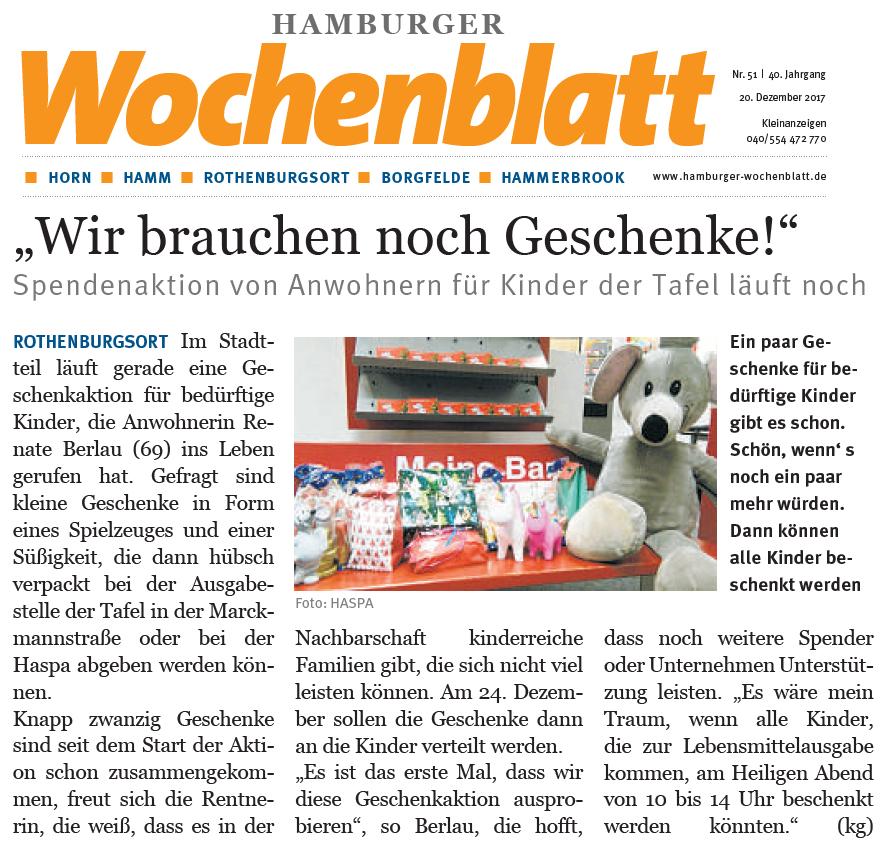 Hamburger Wochenblatt - Geschenke für bedürftige Kinder in Rothenburgsort